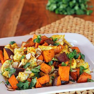 Curry Spiced Yams and Cauliflower
