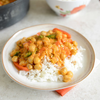 Chickpea Curry On Coconut Rice
