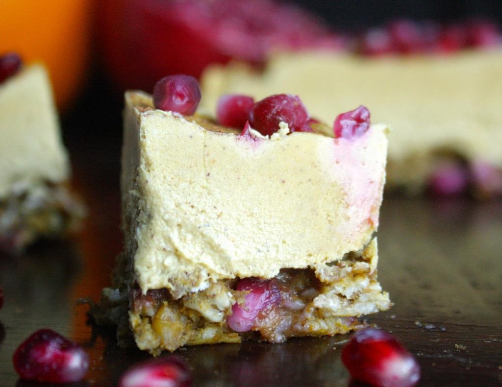 Vegan Pumpkin and Pomegranate Cheesecake