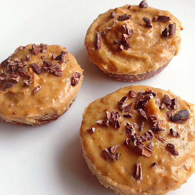 Raw Mini Peanut Butter and Caramel Pies