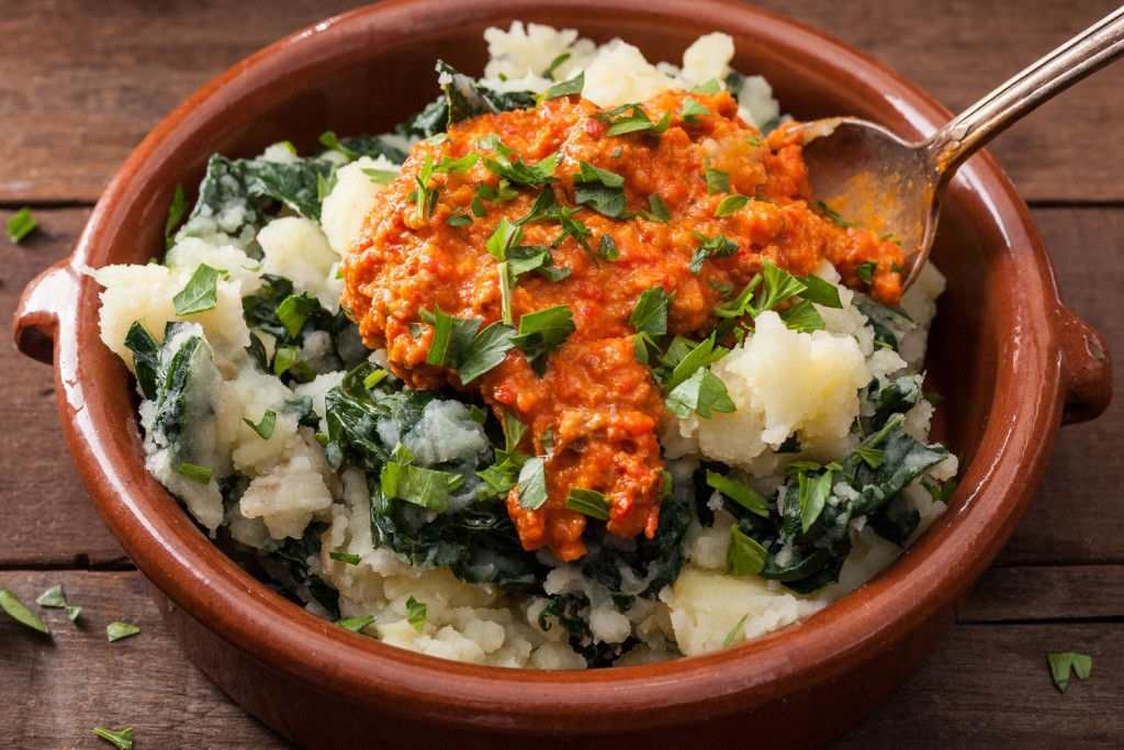 Kale and Potato Mash with Romesco Sauce