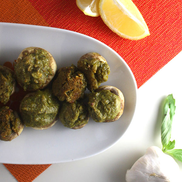 Cashew Pesto Stuffed Mushrooms