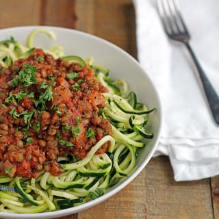 Lentils on Zucchini Spaghetti