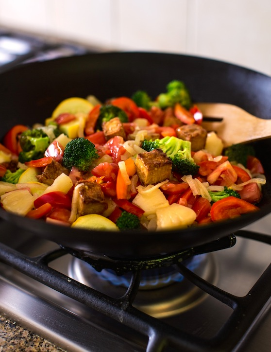 Sweet and Sour Stir-Fried Vegetables with Seitan