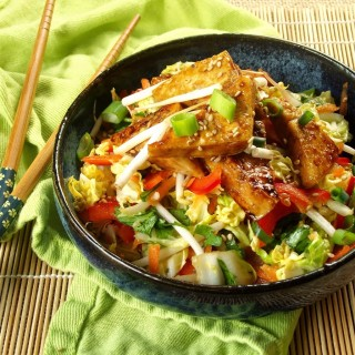 Sweet and Sour Slaw with Ginger Tofu